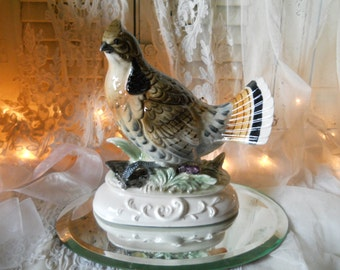 Napco Large Ruffled Grouse Figurine on Scrolled Pedestal Made/ Japan Ca.1950s Collectible Bird Figurine Excellent Condition Original Sticker