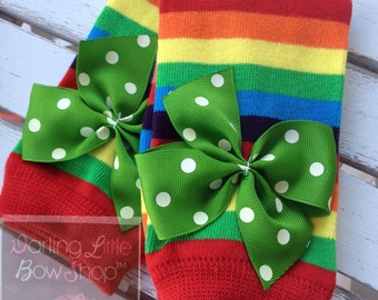 Rainbow Leg Warmers -- rainbow striped bow leg warmers -- green polka dot bows for St. Patrick's Day