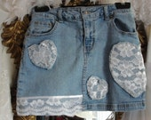 Jean skirt, girls shabby lace hearts