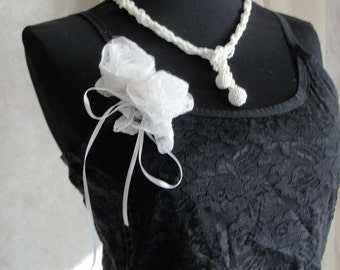 Black lace cami with white roses, gypsy boho bohemian, french chic, mori girl