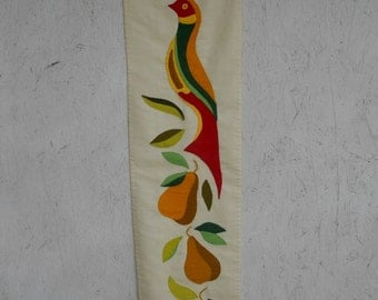 Vintage Partridge Christmas Wall Hanging . Hand Stitched . Large