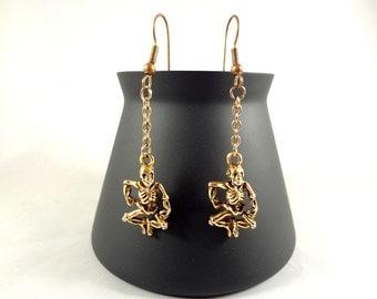 Gold Skeleton Earrings - Skeleton Charm Earrings - Gold Dangle Earrings - Gold Jewelry - Halloween - FREE SHIPPING