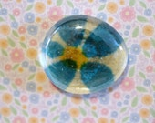 Clear glass round shape magnet handmade floral paper turquoise blue yellow 1 1/2 inch cute gift favors fridge