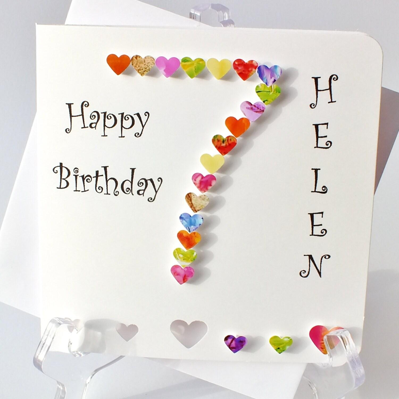 Handmade 3D '7' Card 7th Birthday Card Personalised