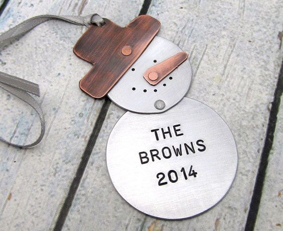 Personalized ornament hand stamped metal