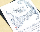 Cape Cod Save the Date, Cape Cod Map Save the Date, Cape Cod Save the Dates, Cape Cod Map Save the Dates