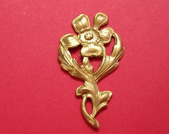 4- Brass Stamping  Embellishment Flower Branch  Pendant Connector Jewelry Findings.