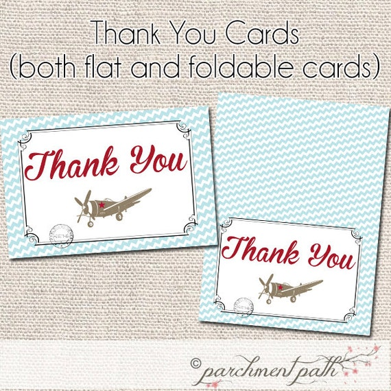Vintage Baby Shower Thank You Cards: Vintage Airplane Thank You Card