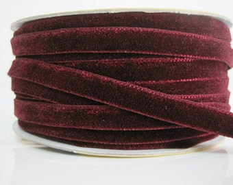 5 yards 3/8 Burgundy Velvet Ribbon, Dark Red Velvet Ribbon, Ribbon, Ribbon lot, Red Tape, Wholesale Ribbon, Red Velvet Ribbon, Velvet ribbon