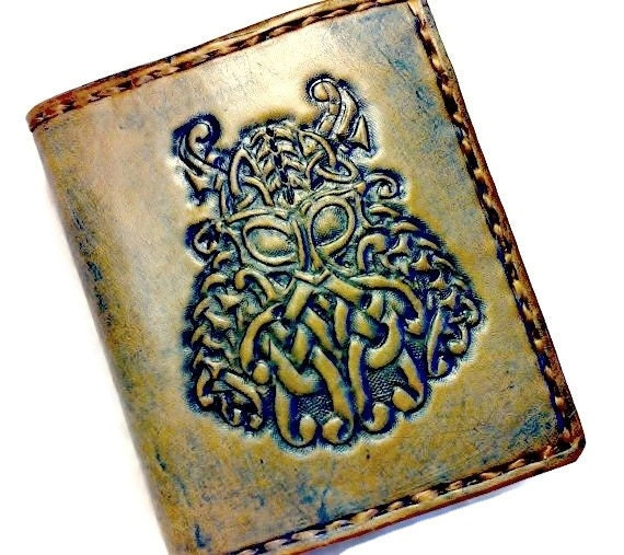 Celtic Irish Gift - Men's Leather Wallet - Viking Warrior - husband gift beard - Personalize - Dad Gift. Holds 12 cards, has 2 bill slots