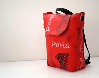Knapsack  Red Backpack, Student Backpac,Paris ,Roma , Rome Backpack/Travel,School,Daily Backpack/Unisex Rucksack