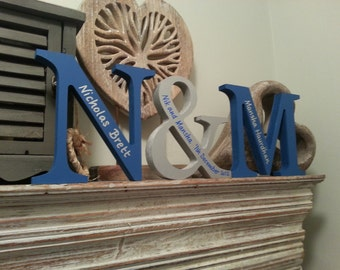 Wooden Wedding Letters - Set of 3 - Hand-painted Photo Props - 25cm, painted, standing, various colours and finishes, personalised