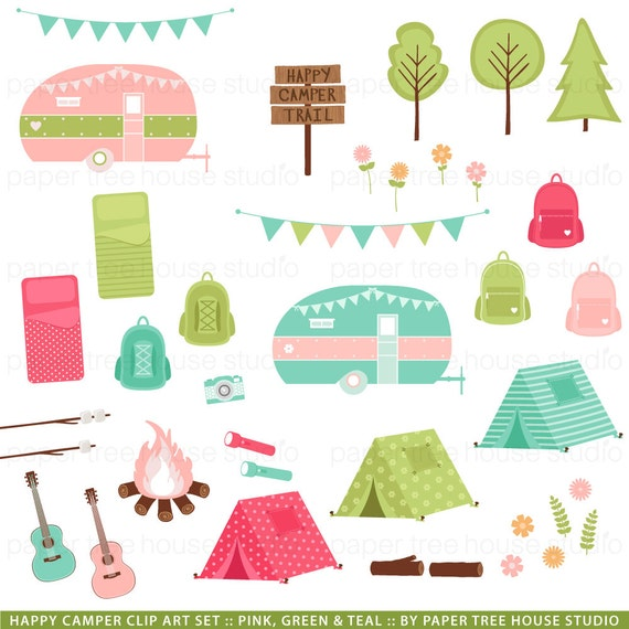 Camping Clip Art Camper Clipart Glamping Sleepover Vacation Camp Fire Digital Download