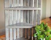 Corner Shelf Crate-Tan Distressed- Rustic Corner Crate-Distressed Corner Crate-Knickknack Crate