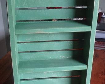 Spice Rack Crate or Knickknack Display-Antique sage Green Shelf- Crate Shelving- Kitchen Storage - kitchen shelving - kitchen spices