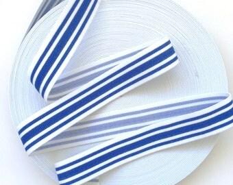 "1 1/2"" Cobalt Blue and White Stripes Stretch Elastic Band"