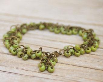 Japanese Seed Beads Beaded Brass Chain Bracelet