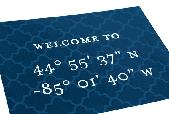 Custom Latitude and Longitude Coordinates Art Print / Typography Digital Print / 8x10 / Choose your Color & Background