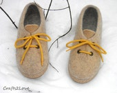 Outdoor wet felted shoes with rubber soles.Felted wool shoes in oatmeal beige yellow.Organic eco fashion women shoes. Woolen shoes. Size 8
