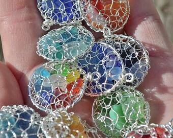 Genuine Sea Glass Hand Knitted Fine Silver Wire Pod Pendant Necklace