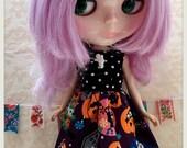 CottonCandyWorkshop Blythe Dress, kawaii Halloween pumpkin and ghost dress