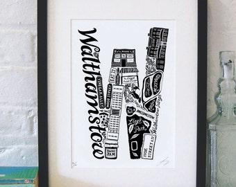 Best of Walthamstow - London print - London poster - London Art - Typographic Print - London illustration - letter art