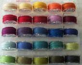 Genziana Wool Thread 25 Color Bobbin Set  #2 for Wool Applique Sue Spargo Colors