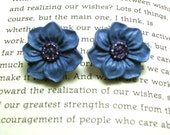 Blue Flower Button Earrings, Button Jewelry, Flower Earrings, Flower Jewelry
