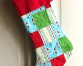 FREE SHIPPING AVAILABLE  Patchwork Gnomes! Quilted Christmas Stocking - holiday decor