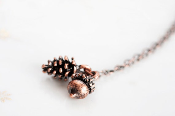 Autumn Acorn Pine Cone Necklace Christmas Fall Woodland Pinecone Forest Acorn Necklace Nature Jewelry - N228