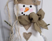 READY TO SHIP Full Body Snowman Burlap Door Hanger Winter Burlap Scarf and Heart Buttons