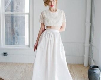 Harper Wedding Skirt: Silk Satin Floor Length Gathered Skirt; Bridal High Waisted Skirt; Full Length Handmade Bridal Skirt