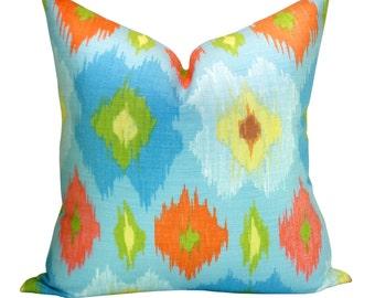 Bimini Ikat pillow cover in Blue and Orange