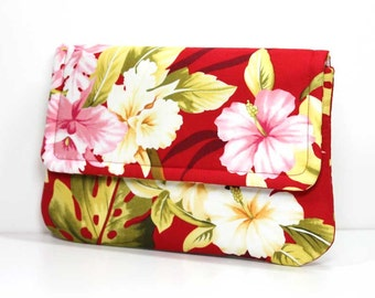 Clutch Purse - Red Tropical Floral Print - Ready to Ship