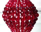 Large Deep Red, Faceted Glass, Beaded Light Bulb Shade, Bulb Cover, Pendant Light, For Standard Size Light Bulbs