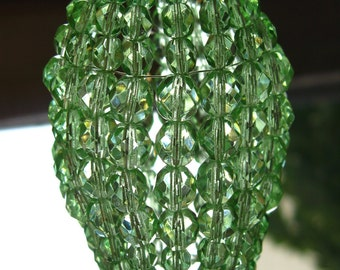 Small Pale Green Faceted Glass, Chandelier Shade, Sconce Shade, Candelabra Light, Beaded Light Bulb Cover, Lamp Shade