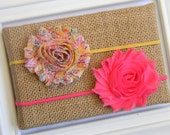 Set of 2 Shabby Chic Headbands - Chiffon Flower Headbands - Floral Headband - Hot Pink Headband