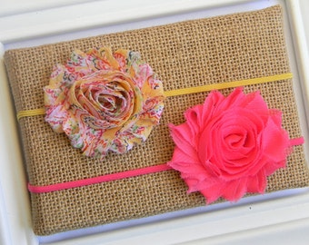 Set of 2 Shabby Chic Headbands - Chiffon Flower Headbands - Floral Headband - Hot Pink Headband