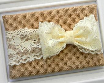 Lace Bow Headband - Ivory Lace Headband - Pink Lace Bow Headband