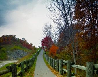 Tennessee Mountains, Deep Blue Sky, Autumn Fine Art Print, Fall Foliage, Blazing Trees, Fine Art Tennessee Mountain Print