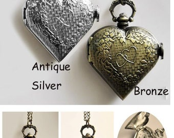 1pcs LOVE Heart  Watch Charms Pendant with chain /pocket watch/Bridesmaid , Christmas gifts, friends, children's gifts
