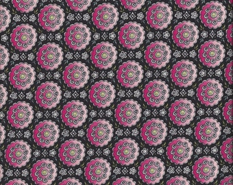 "LAST 2 YARDS! Pink and Black Fabric by Anna Griffin, ""Medallion"" in Black, 100% Cotton Fabric, Great for Quilting, Sewing!"