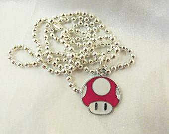Silver Charm Necklace,  Mario Brothers ONE UP Pink Mushroom Mens Womens Gift Handmade