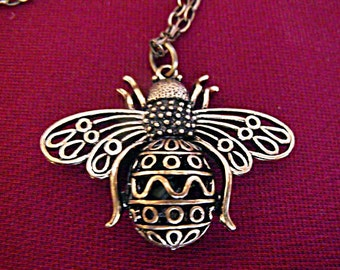 Bronze Pendant Necklace,   Steampunk Large Bronze Bee Necklace Mens Womens Gift Handmade