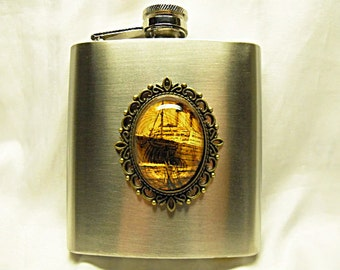 Flask,  Vintage Titanic Image Flask 6 Ounce Stainless Steel  Mens Womens Gift  Handmade