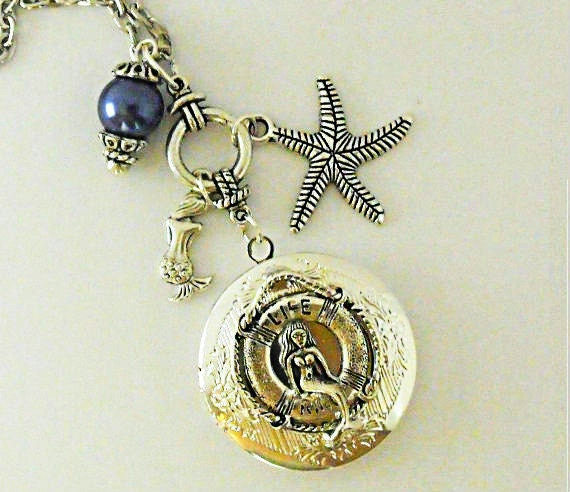 Silver Locket Necklace,  Mermaid Sitting on Life Ring  With Blue Pearl And Charms Womens Gift Handmade