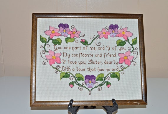 Cross Stitch Sister Picture Wood Framed Vintage Cross Stitch