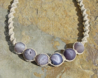 SALE Beaded Agate Hemp Necklace