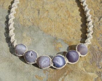Beaded Agate Hemp Necklace