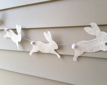 SALE Bunny Rabbit Burlap Bunting for Easter Spring in Off White Burlap